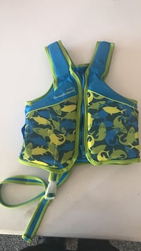 toddler's blue and green zip-up life vest