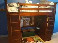 brown wooden bunk bed with storage Toronto