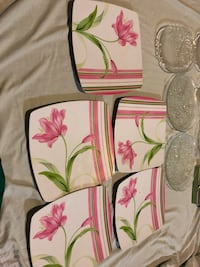 Pink and green floral print plates Toronto, M1P