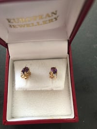 Gold earrings with Amethyst and diamond London, N6A 5C7