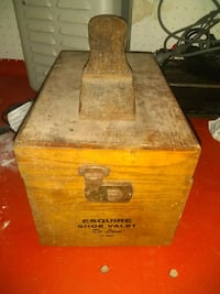 Antique shoe shine box with shoe shine