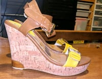 Pair of yellow open-toe ankle strap heels West Linn, 97068