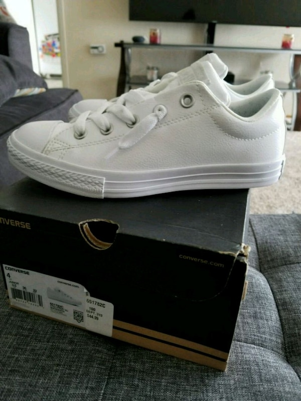 b683215c9647f4 Used Converse All star white leather youth sneakers for sale in San Bruno