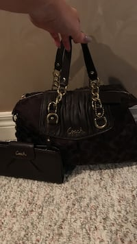 women's black Coach leather tote bag and wallet set