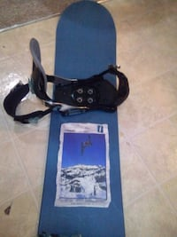 blue snowboard with black bindings Surrey, V3S 1H3