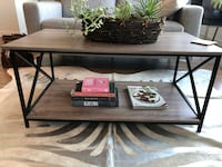 Grey coffee table with metal Xs Chicago