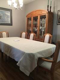 Rectangular white wooden table with six chairs dining set and china stand  Langley, V3A 8J7