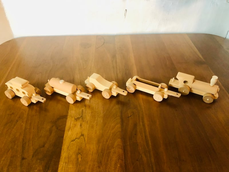Vintage Handcrafted Wooden Toy Train Set (1970's), Only 2 Sets Left!  8499c174-a4f8-4d2a-9c32-4cb6557295c1