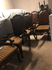 brown-and-white fabric padded armchair lot 2350 mi