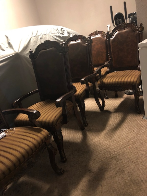 brown-and-white fabric padded armchair lot