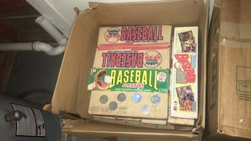 Boxes of vintage baseball cards