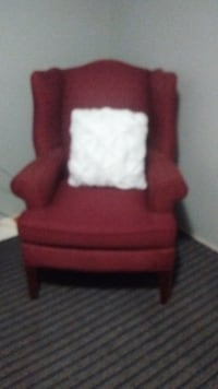 red fabric sofa chair