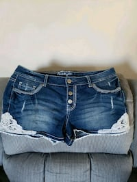 blue denim cuff short shorts