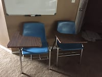 two blue leather padded chairs Jacksonville, 32218