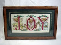 Needlepointed Christmas Bears Framed Picture Lancaster