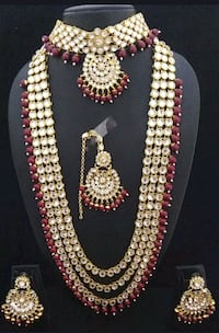 Indian Pakistani kundan pearl bridal set necklace  784 km