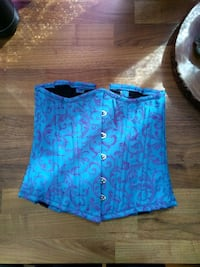 Turquoise and Purple Brocade Underbust Corset