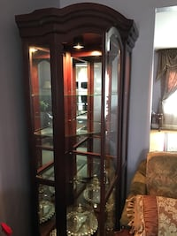 Brown wooden framed glass display cabinet   Like New