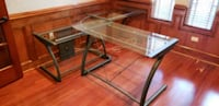 rectangular clear glass top table with black metal Orlando, 32836