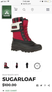 red and black Sugarloaf snow boot screenshot Edmonton, T6W