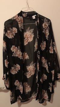 black and brown floral long-sleeved open cardigan Dorval, H9P 1X5