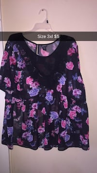 black and pink floral long-sleeved blouse with text overlay