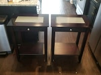 2  wooden single drawer side table