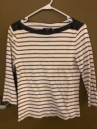 Faux leather boat neck tee Ann Arbor, 48109