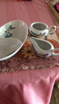 White and blue ceramic teacup and saucer Brandywine, 20613
