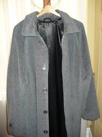 gray button-up coat MARKHAM