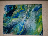blue and green abstract painting 1031 mi
