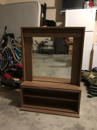 Brown wooden mirror and stand 561 mi