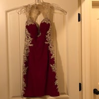 Maroon and gold prom dress, Size S Canton, 39046