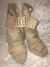 Beautiful pair of tan/ beige suede  open toe ankle strap heels Oceanside, 92057
