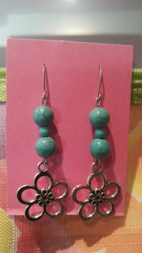 pair of green beaded hook earrings Côte Saint-Luc, H4V 2P5