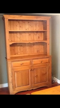 Brown wooden hutch cabinet