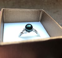 Size 9/10 Tahitian black pearl 14k white gold quarter carat Knoxville, 37909