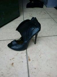 pair of black leather peep toe platform stilettos Germantown, 20876