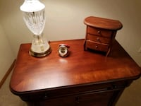 two brown wooden base white shade table lamps Ankeny, 50023