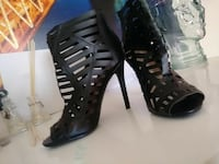 black caged open-toe leather heels Sunnyvale, 94087