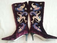Vintage, zip up.velvet, embroidery, beaded, boots