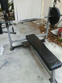 black and gray bench press w/o barbell.