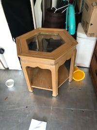 brown wooden framed glass top side table Orlando, 32835