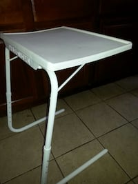 white and gray folding table