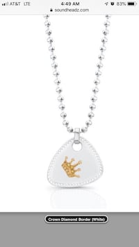 14CT Solid White Gold crown guitar pick necklace.