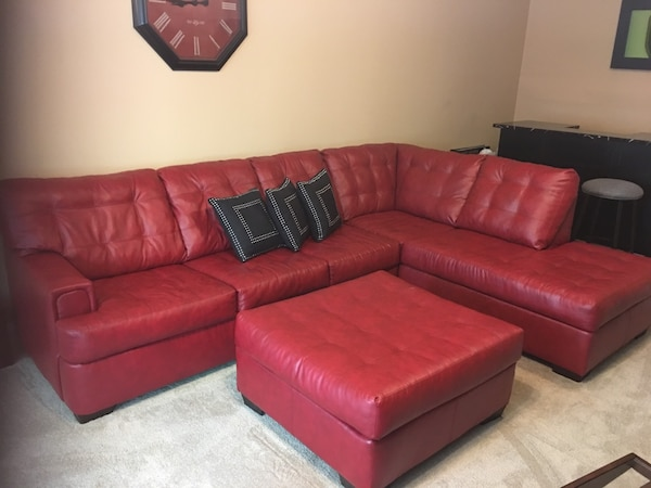Used Red Leather Sectional Sofa With Ottoman Like New For Sale In