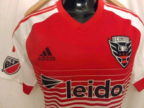 Adidas DC UNITED away jersey Red/white Men's Sz Lg