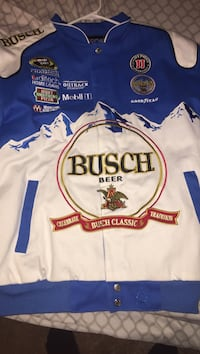 white and blue Busch Beer racing jacket Locust Grove, 22508