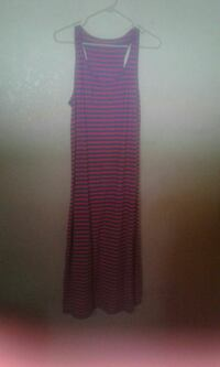 black and red striped u-neck sleeveless maxi dress