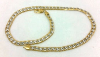 "Real 10k Gold  Over Silver Cuban Curb Link Chain Necklace 28"" / 8 MM"